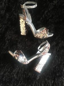 Steve Madden New Ritzy Silver Shoes Sandals new $109 sz 7.5 m