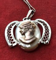"Vintage Sterling Silver Necklace 925 Sorrento Cameo Filigree 16"" Shell Signed"