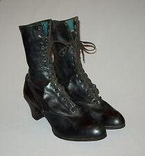 Old antique vtg 1910s Womans Black Victorian Boots spade sole Edwardian shoes