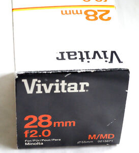 VIVITAR WIDE-ANGLE 28mm f2  f2.0 for Minolta MD & mirrorless cameras JAPAN GREAT