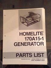 Homelite 170A15-1 Generator Parts List