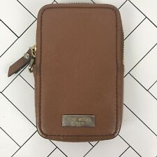 HENRI BENDEL Saddle Brown Leather Zip Cell Phone Case Wallet 5.5x4