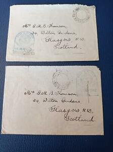 """Great Britain 1942 """"Received  From HM Ships"""" & Naval Censor Marks"""