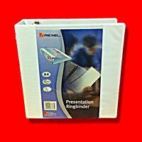BOX 10 X REXEL 40MM WHITE PRESENTATION 4D 4 RING BINDER FILE A4 CLEAR PVC FOLDER