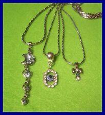 NEU 3 x tolle Halsketten Ketten mit Strass Anhänger versch. Designs  (D101)