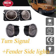 LED Turn Signal & Front Fender Side Lights Smoke Lens fits r 07-17 Jeep Wrangler