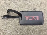 VINTAGE TUMI LUGGAGE TAG BLACK LEATHER RED LOGO EXCELLENT CONDITION