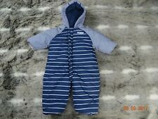 MOTHERCARE  boys navy striped snowsuits for age 0-3 months *combine postage