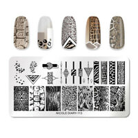 NICOLE DIARY Stamping Plates Rectangle Beast Leopard Nail Art Templates ND-113