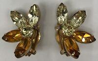 Vintage Kramer of New York Half Flower Yellow & Gold Rhinestone Clip On Earrings