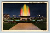Atlantic City NJ, Fountain Of Light, Boardwalk, Linen New Jersey Postcard