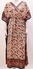 PLUS SIZE BOHO ETHNIC PAISLEY FLORAL SWIRL PRINT LONG KAFTAN DRESS BLACK 28 30