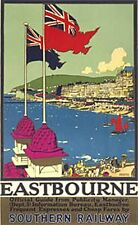 Eastbourne (two flags) (old rail ad.) fridge magnet   (se)