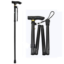 Black Aluminum Metal Walking Stick Adjustable Folding Collapsible Travel Cane