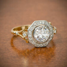 Vintage Victorian Edwardian Engagement 2.00 Ct Round Cut Diamond Ring 925 Silver
