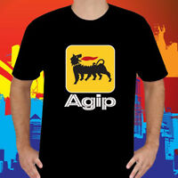 New Agip Racing Oil Famous Company Logo Men's Black T-Shirt Size S to 3XL