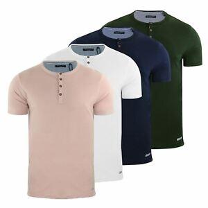 Mens T Shirt Brave Soul Quartz Grandad Neck Short Sleeve Cotton Tee