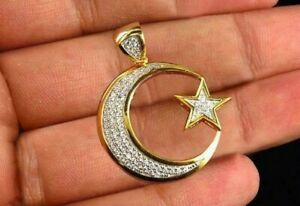 0.50Cts Round Sim Diamond Men's Moon & Star Pendant 14k Yellow Gold Over Silver