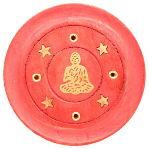 Decorative Round Buddha Incense Burner plate Wooden Red  Ash Catcher