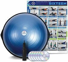 Bosu Ball Home Balance Trainer Blue 65cm w/ 6 Workout DVD's Wall Chart & Pump