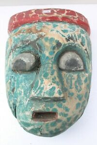 Antique Old HandCarved Painted Wooden Tribal Demon Face Mask Wall Hanging NH2134
