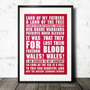 Wales Land of my Father's rugby song lyrics poster anthem