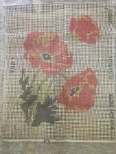 Vintage Caron latch hook rug canvas 21�x27� Orange Poppies - Canvas Only