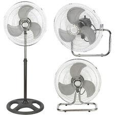 Ventilatore Acciaio 3in1 a Piantana Tavolo Parete Base Tonda 70 W Pala 45 cm