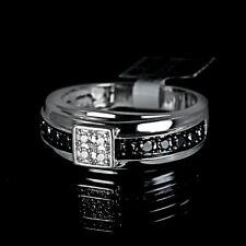 New 10K White Gold Black Real Diamond Mens Wedding Anniversary Band Ring