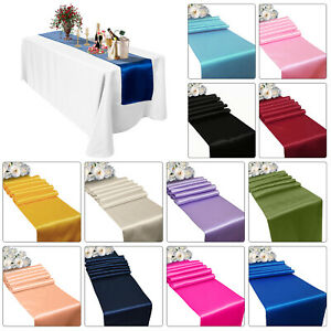SATIN TABLE RUNNER 274cm LONG x 28cm WIDE 19 COLOURS CHRISTMAS WEDDING PARTY UK