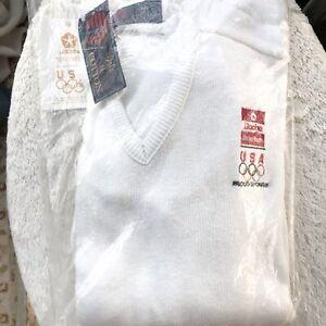 NWT 1992 USA Olympic - Chrysler Dodge Sponsor - White V-neck cotton sweater, XL