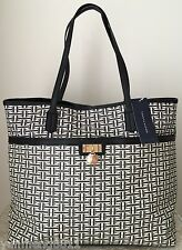 NWT Tommy Hilfiger navy red white faux leather Satchel black Tote Bag Purse $99