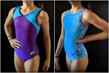 "GK Elite Gymnastics Leotards ""Purple/Blue Collection"" Foil Velvet Size CS"