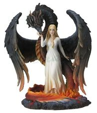 "10"" Beauty & The Winged Serpentine Dragon Statue Figurine Magic Figure Sculpture"