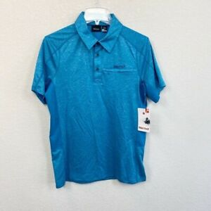 Marmot Drake Blue Short Sleeve Polo Shirt Mens size Small New with Tag
