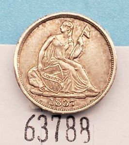 West Point Coins ~ 1837 Half Dime 'No Stars' Full Liberty XF/AU