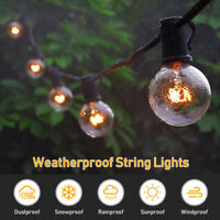 Outdoor Globe String Festoon Lights Mains Powered G40 Bulbs 25FT , Warm White