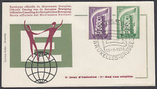 1956 Belgium EUROPA FDC; Brussells SHS