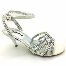 WOMENS EVENING PARTY DIAMANTE WEDDING BRIDAL SANDALS BRIDESMAIDS WIDE FIT UK S3