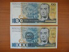 Lot de 2 billets Brésil, Brazil, Brasil, 100 et 100000,