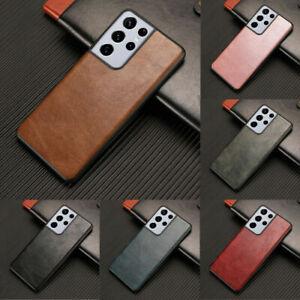 For Samsung Galaxy S21 Plus S21 Ultra Retro PU Leather Slim Hybrid Case Cover