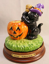 Our America Gift - Halloween CAT Candle Topper - Yankee Candle with Base