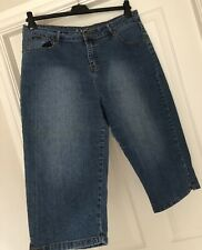 WOMENS CASUAL BLUE CAPRI STYLE CROPPED JEANS/PANTS - US SIZE 13/14