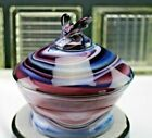 Antique Imperial Purple Slag Glass Bee Box Covered Candy Bowl Rare