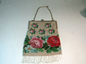 Antique Beaded Bag Purse with Flowers