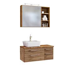 Badmöbelset Waschtisch mit Aufsatzbecken Spiegelschrank Regal 90 cm wotan eiche