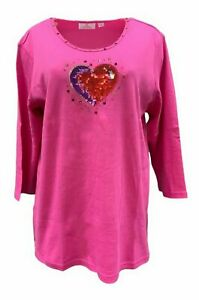 QUACKER FACTORY Bling in the Holidays Heart 3/4 Sleeve T-Shirt Pink