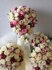 IVORY PINK ORCHID CHAMPAGNE & DIAMOND PACKAGE 8 PCE WEDDING BOUQUET SILK FLOWERS