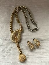 Large Clear Rhinestone Encrusted Open Cresce Estate Demi Chunky Goldtone Chain w