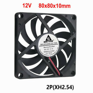 DC12V 0.1A 8CM 80x80x10MM 3000 rpm 2-pin double ball bearing cooling fan